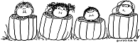 kids in pumpkins